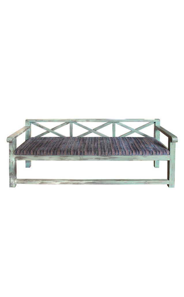 Bench Wooden Distressed Blue Finish Custom Made Furniture Desert Design Bench