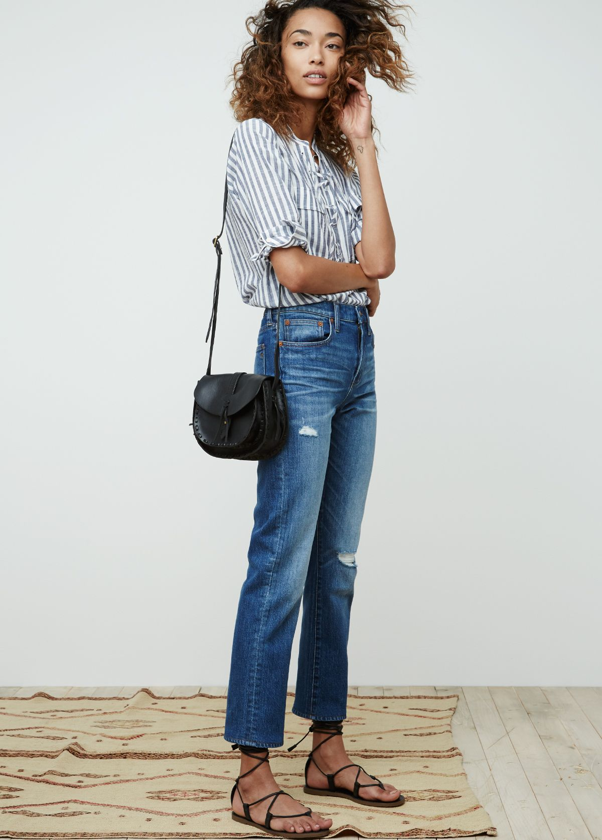 68fd97065 madewell cruiser straight jean worn with the terrace lace-up shirt +  asheville saddlebag.