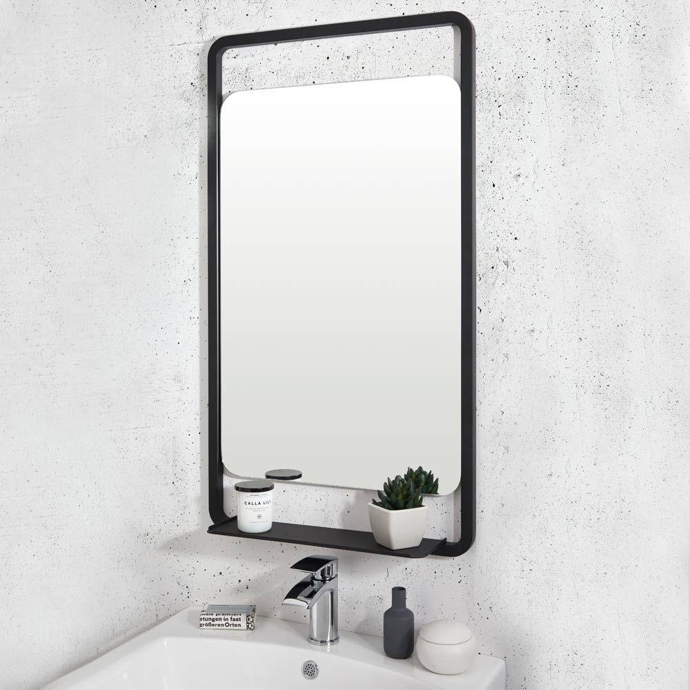 Vellamo Matt Black Mirror Shelf 900 X 500mm Black Bathroom Mirrors Bathroom Mirror With Shelf Mirror With Shelf