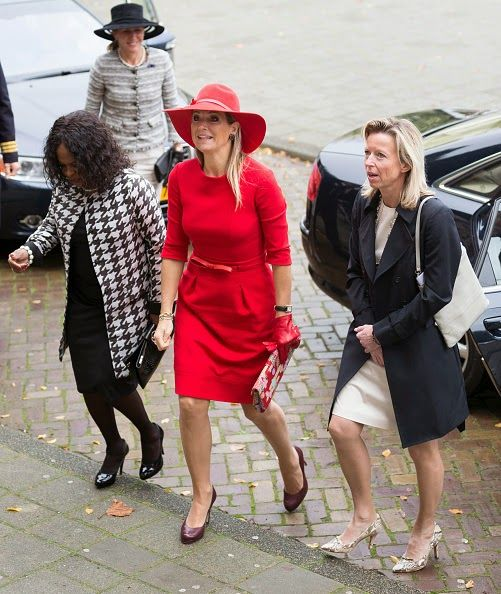 "14 October 2014 - Queen Maxima attends the Symposium ""40 Years Protection Domestic Violence"" in Amsterdam - dress by Natan, shoes by LK Bennett"
