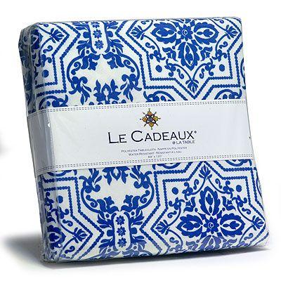Le Cadeaux Water Resistant Tablecloth   Souk Blue   69 X 69 In