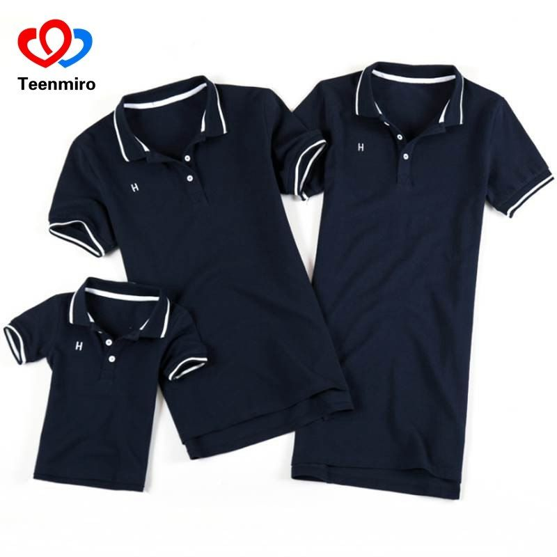 b181b73b5d Summer Family Look Clothing Father Son Polo Shirts Matching Outfits Mother  Daughter Dress Mommy And Me Clothes Short Sleeve Tops