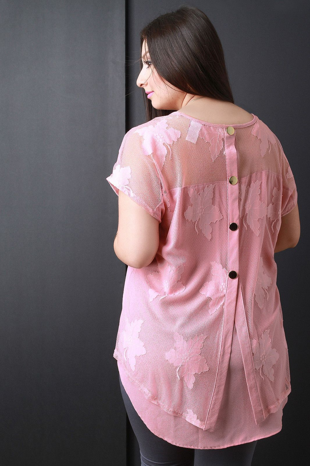 High Low Semi-Sheer Button Accent Top