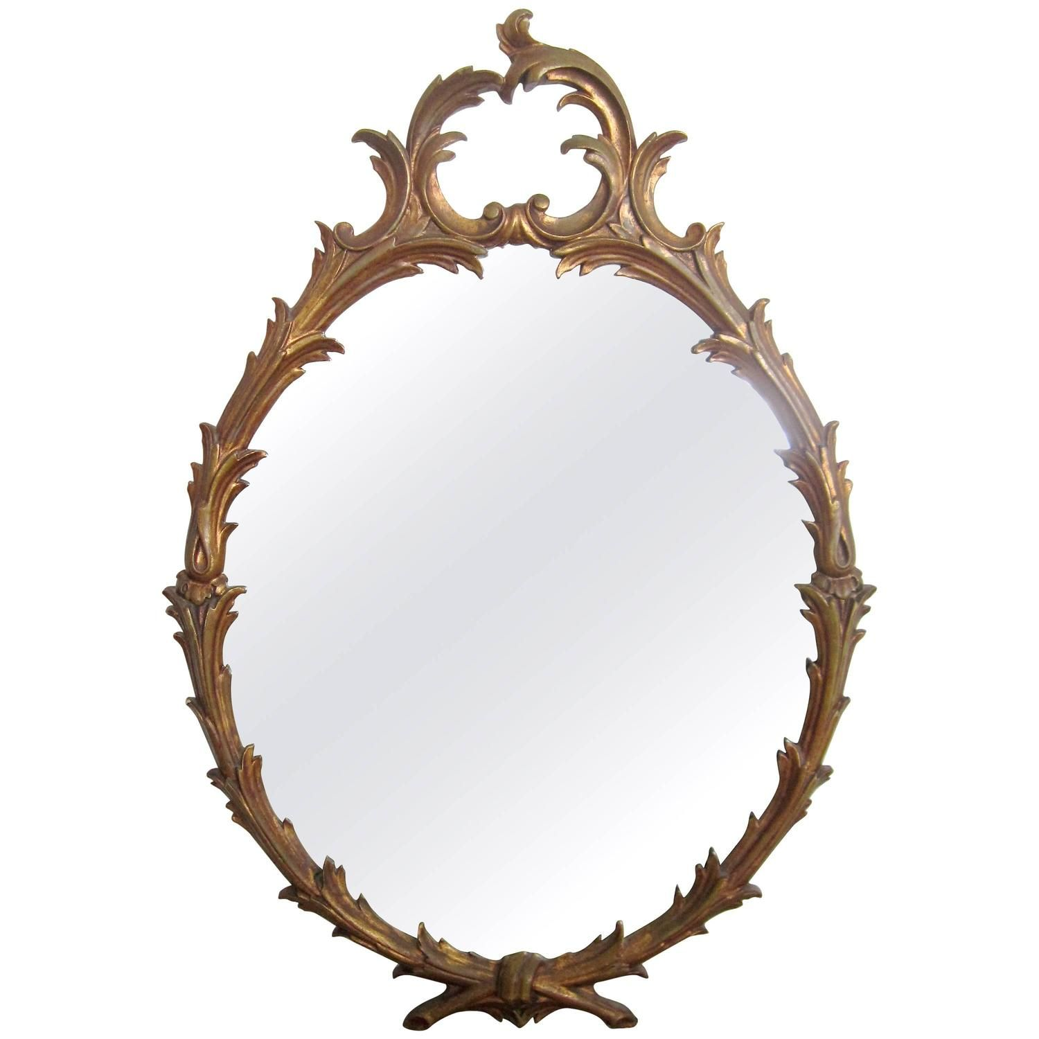 This italian circular wooden wall mirror is no longer available - Anne Dittmeier Beautiful Oval Gilt Wood Carved Mirror Italy From A Unique Collection