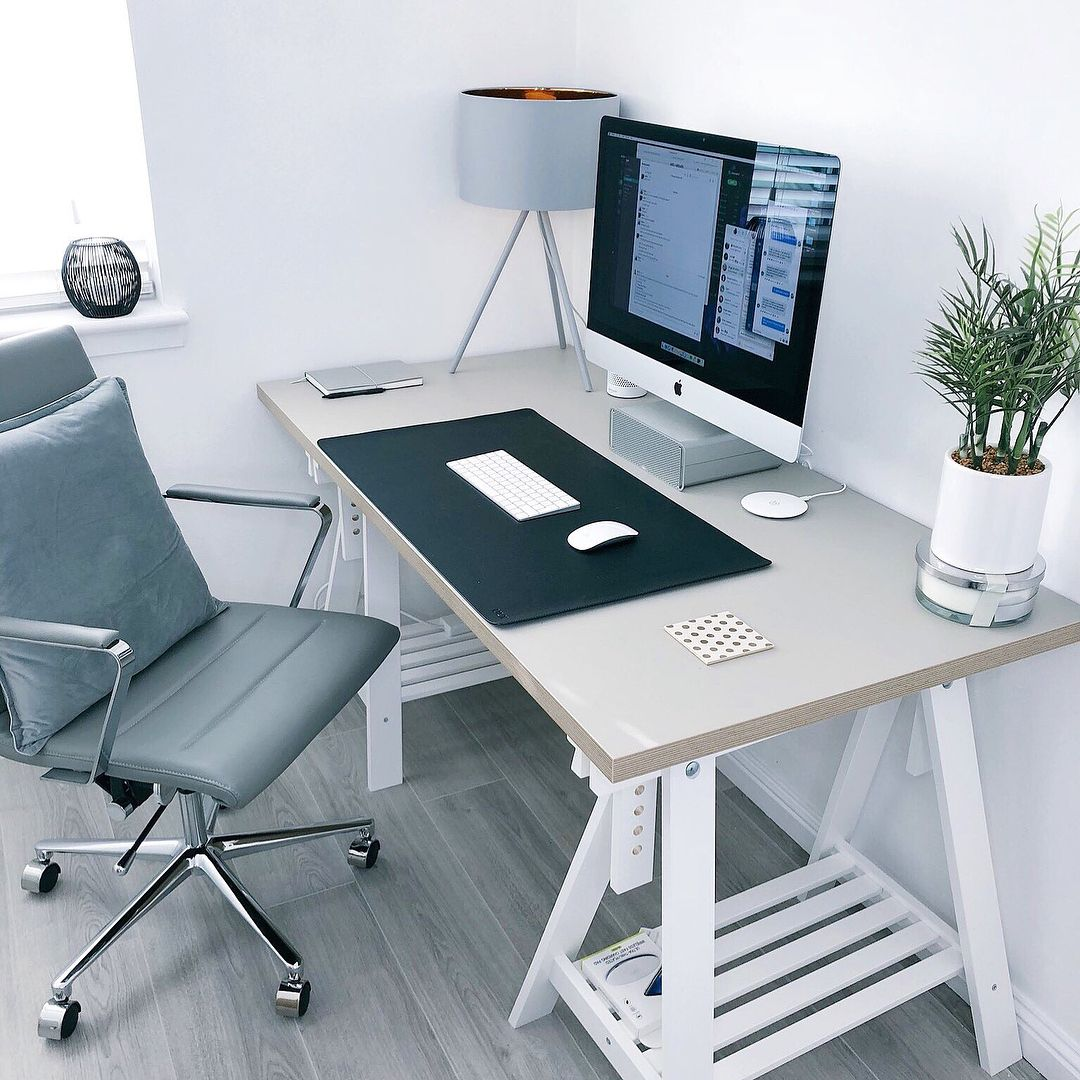 Minimalist grey imac workspace by jamesmcdonald desk mat from