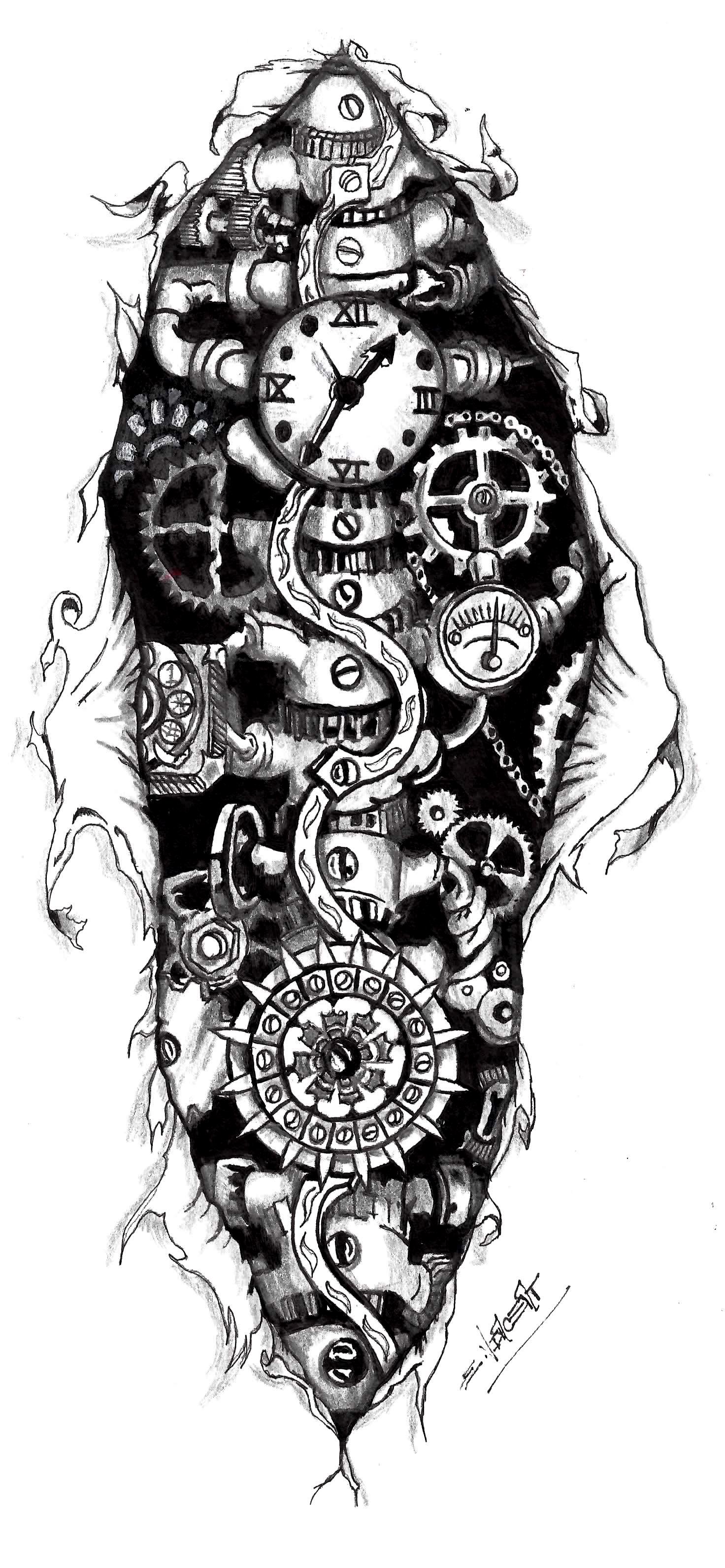 Steampunk gears tattoo steampunk clock tattoo designs for Easy steampunk ideas