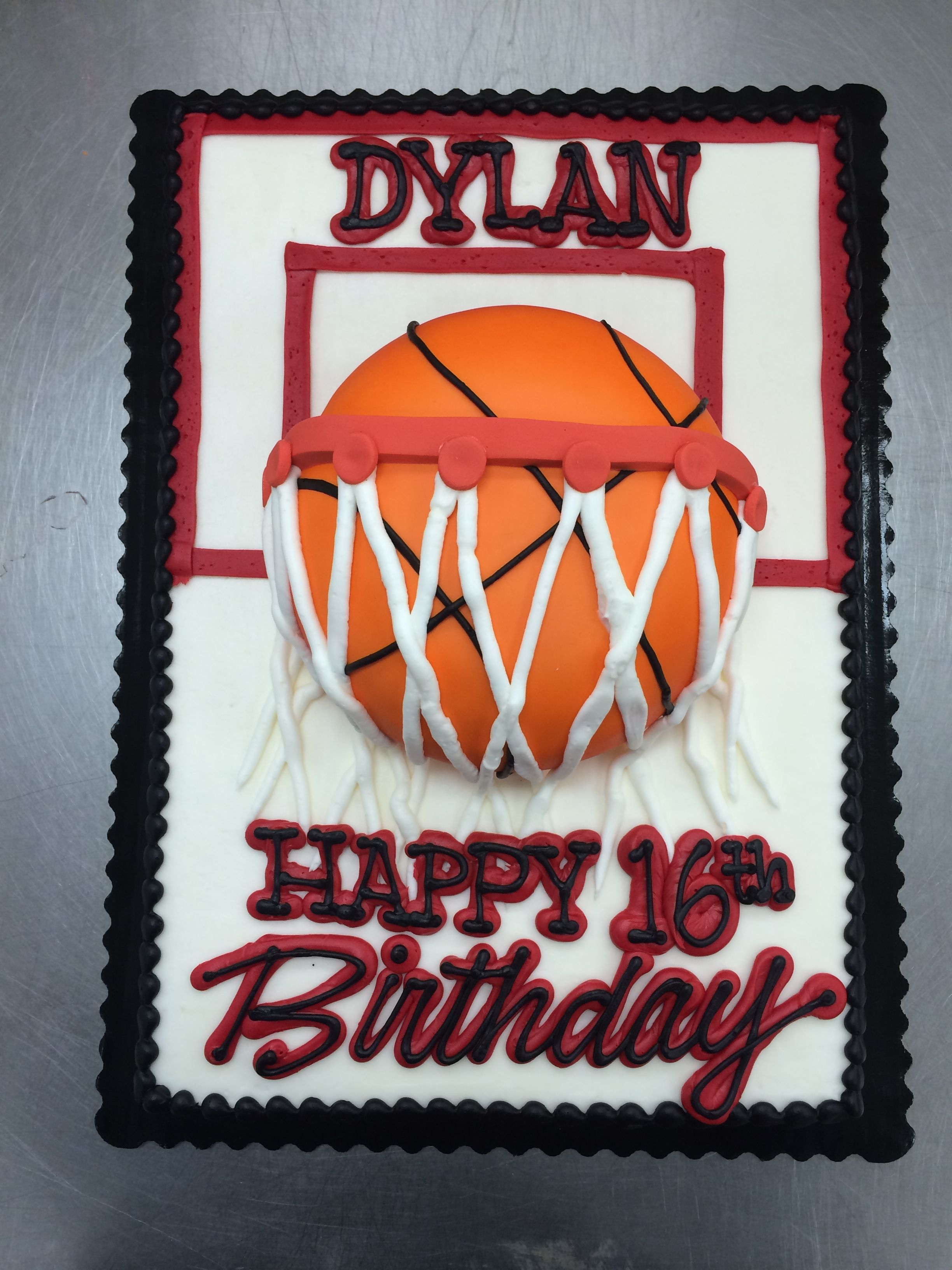 Basketball Hoop Fondant Basketball Cake by Stephanie Dillon LS1 Hy