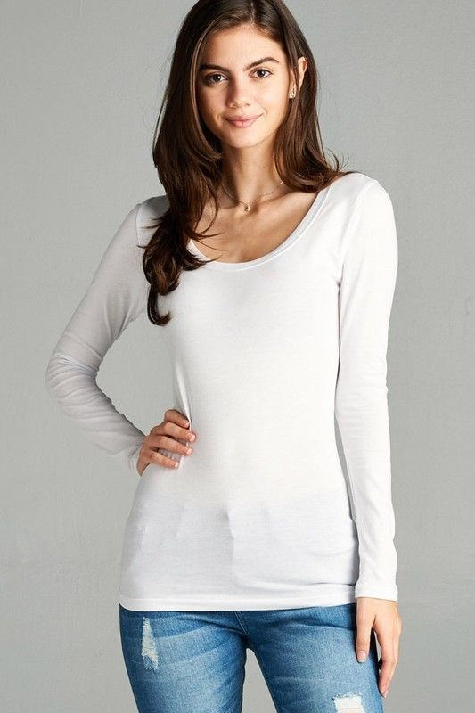 Details about Scoop Neck Basic Long Sleeve T-Shirt Solid ...