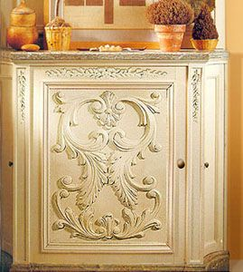 Custom Build Cabinet With Wooden Door Panel And Carved Wood Onlays