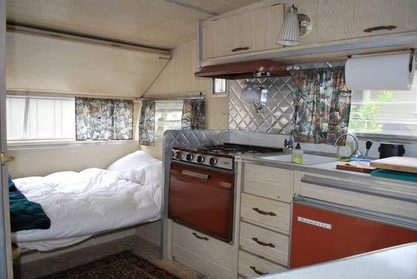 1967 Aristocrat Lo Liner Kitchen 2 36 Visits Camper Interior Aristocrat Trailer Trailer Remodel