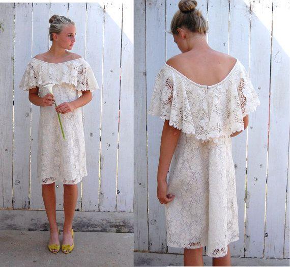 Vintage 60s Short White Lace Off Shoulder Hawaiian Wedding Beach Dress