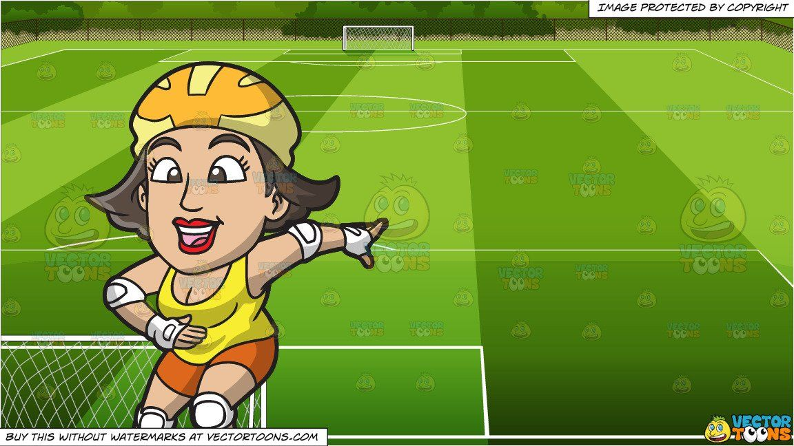 A Happy Roller Skating Woman And Soccer Field Background Roller Skating Roller Soccer