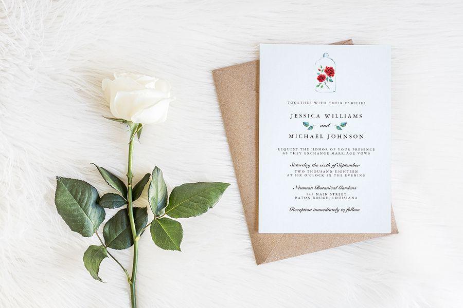Enchanted Rose Beauty And The Beast Wedding Invitations Wedding