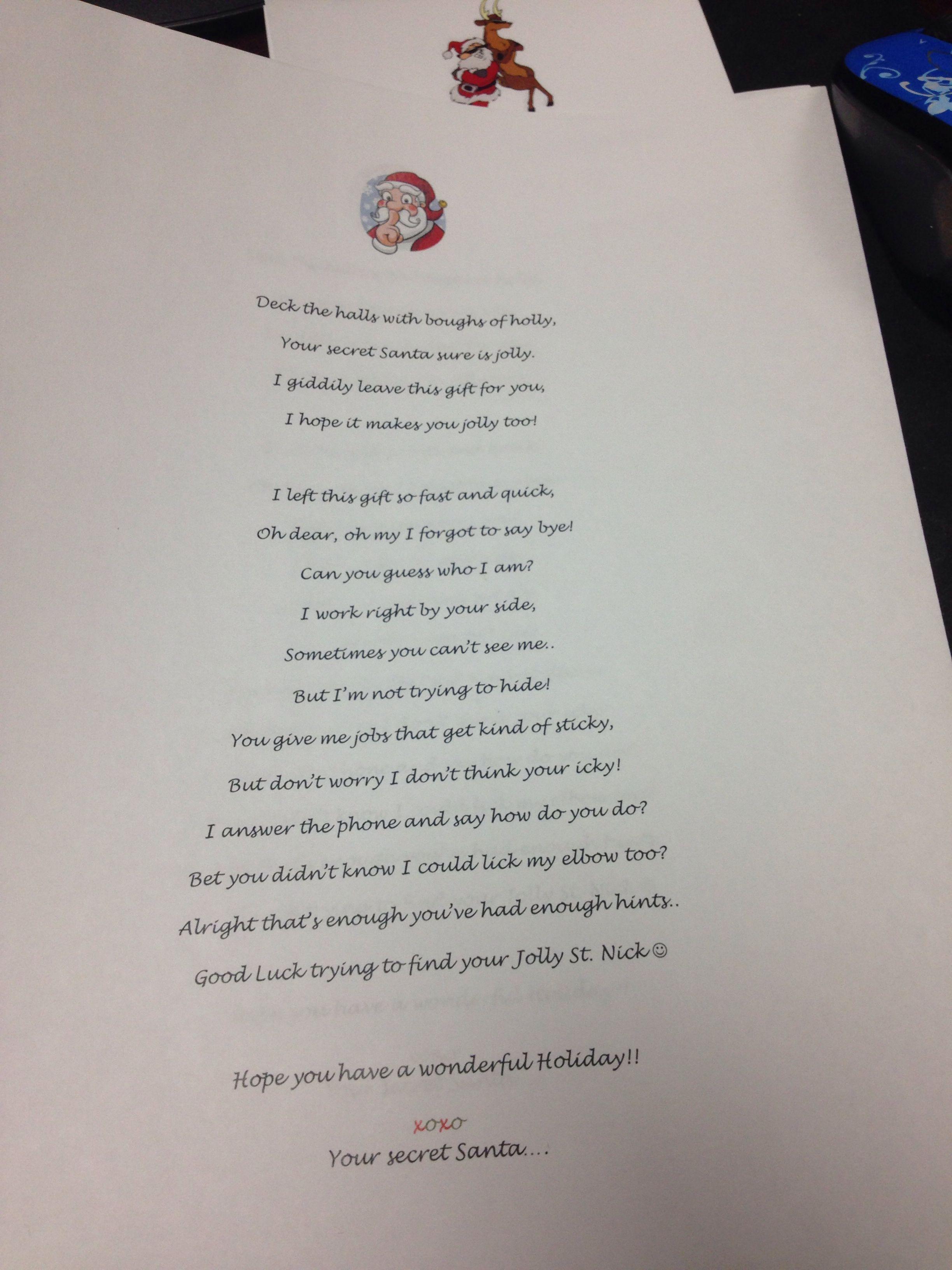 Secret Santa reveal poem Work secret santa, Secret santa