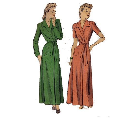40s Robe Sewing Pattern Du Barry Starlet Dressing Gown Princess ...