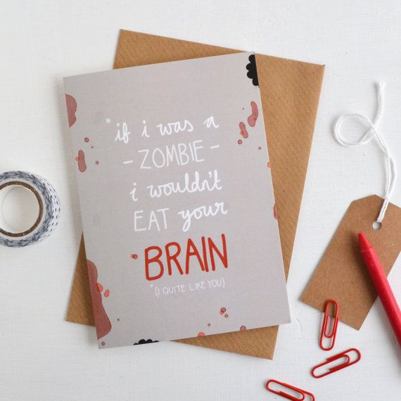 Zombie Brains Card, Alternative Anniversary Card, Quirky ...
