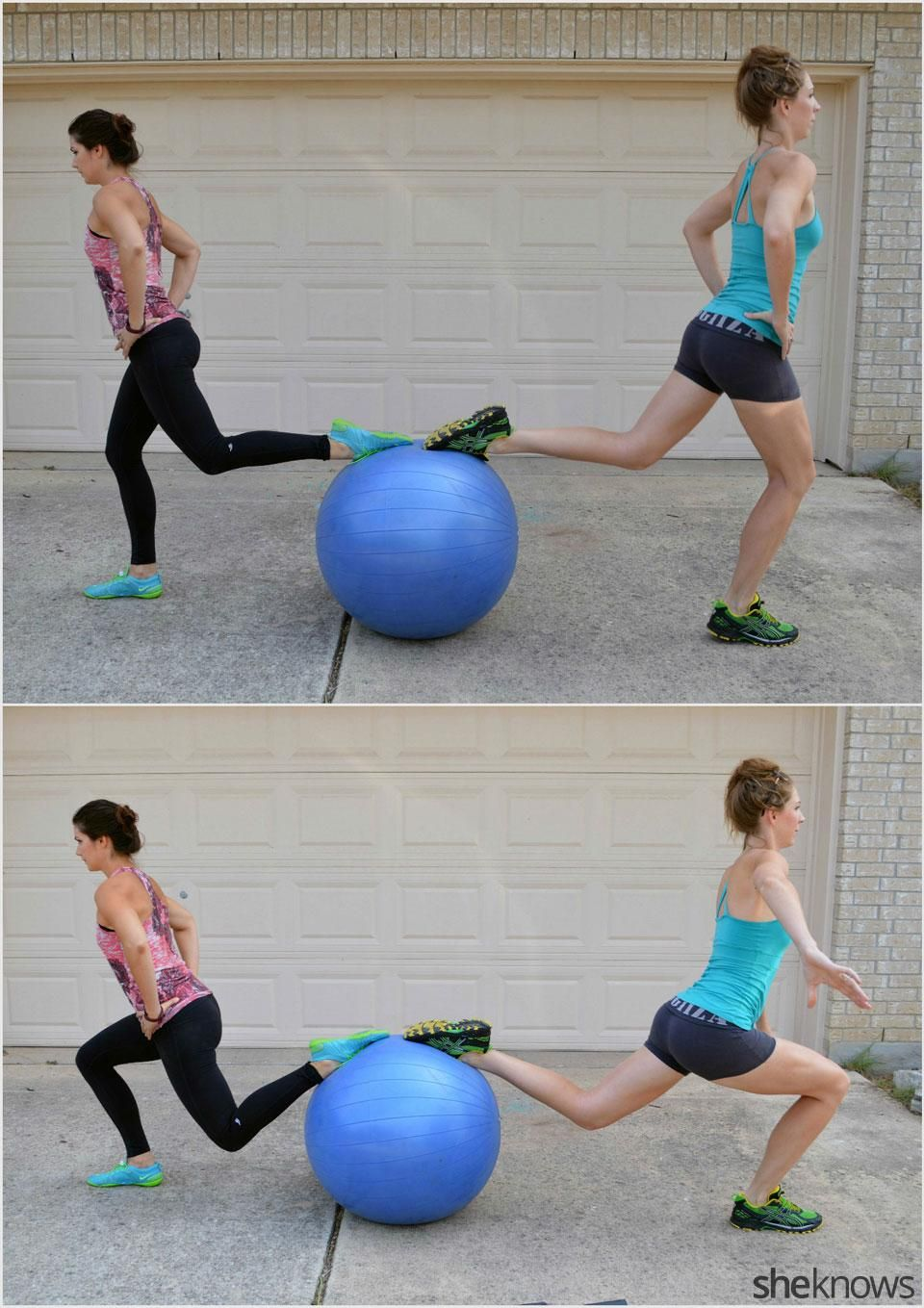 Hanging knee raises with medicine ball - How To Do A Stability Ball Lunge With An Exercise Partner