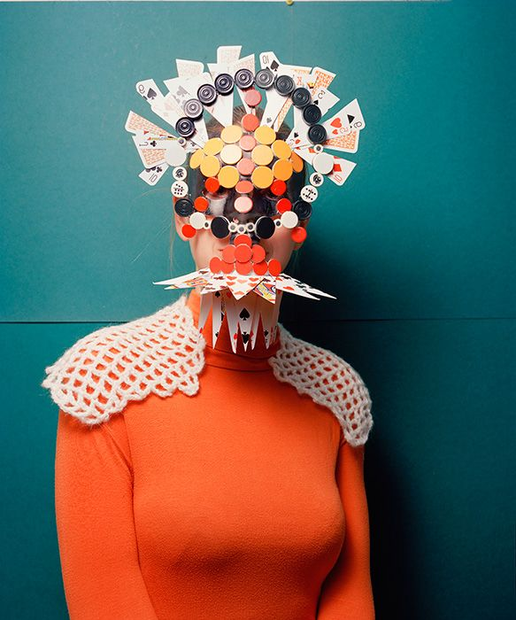 Marie Rime: African-inspired masks using game pieces.