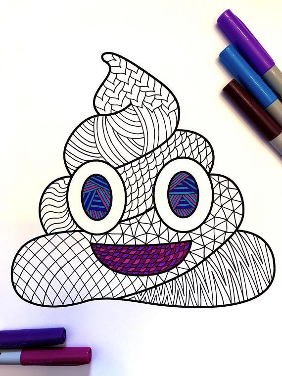 Poop Emoji Pdf Zentangle Coloring Page Cool Emojis Dibujos