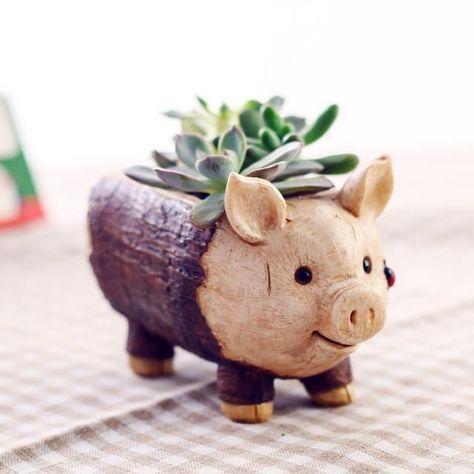 Pig Resin Planter Flower Pot Micro Landscape Garden Home Decoration