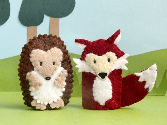Woodland Animal Pair Hedgehog And Fox Finger Puppets By