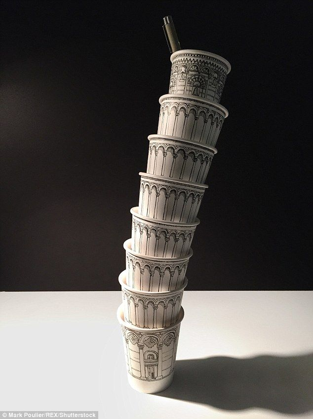 Artist creates the Pisa landmark on the side of paper cups ...