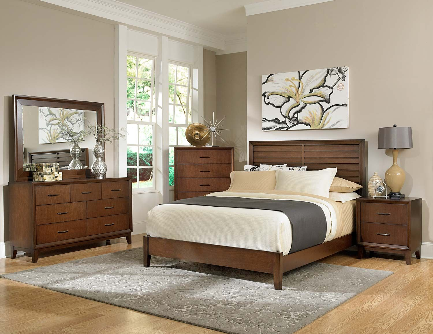 Homelegance Oliver Bedroom Set - Warm Brown Cherry - Simplicity ...