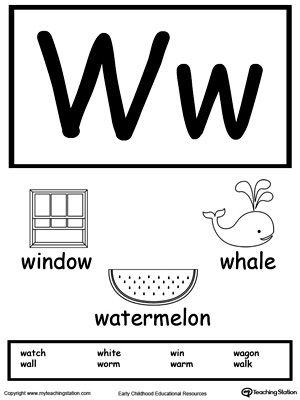 Letter W Printable Alphabet Flash Cards for Preschoolers