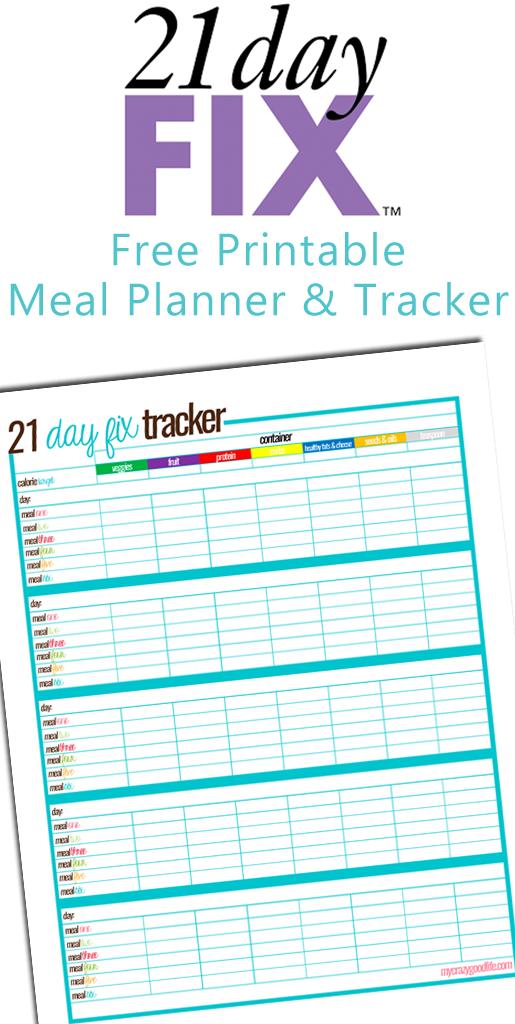 free printable 21 day fix meal tracker 21dayfix beachbody