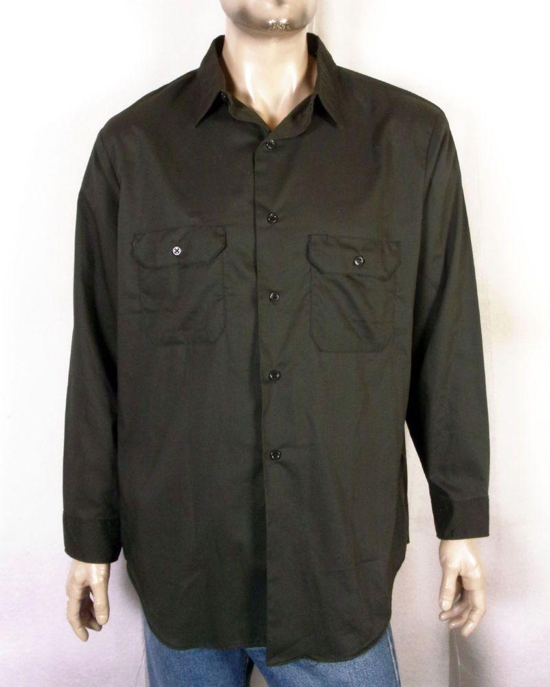 8bb7be1e59 vtg 60s Penneys Big Mac Dark Olive Button Down Work Shirt Mechanic XL  17-17.5
