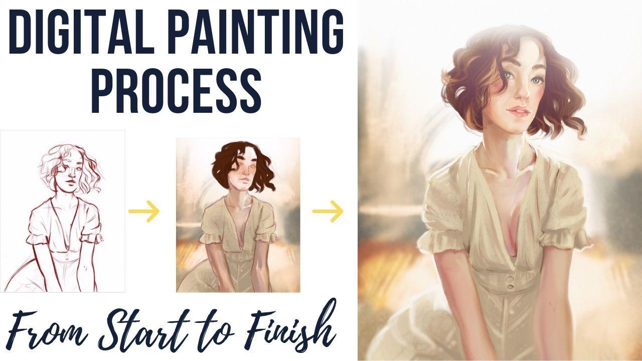 Digital Portrait Painting Tutorial in Procreate App Step