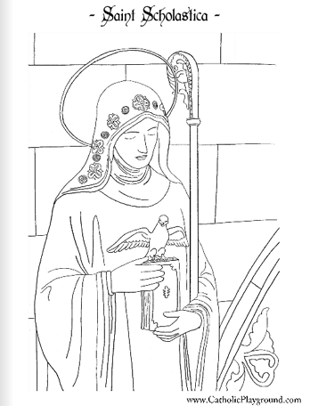 Saint scholastica catholic coloring page feast day is for St valentine coloring pages catholic