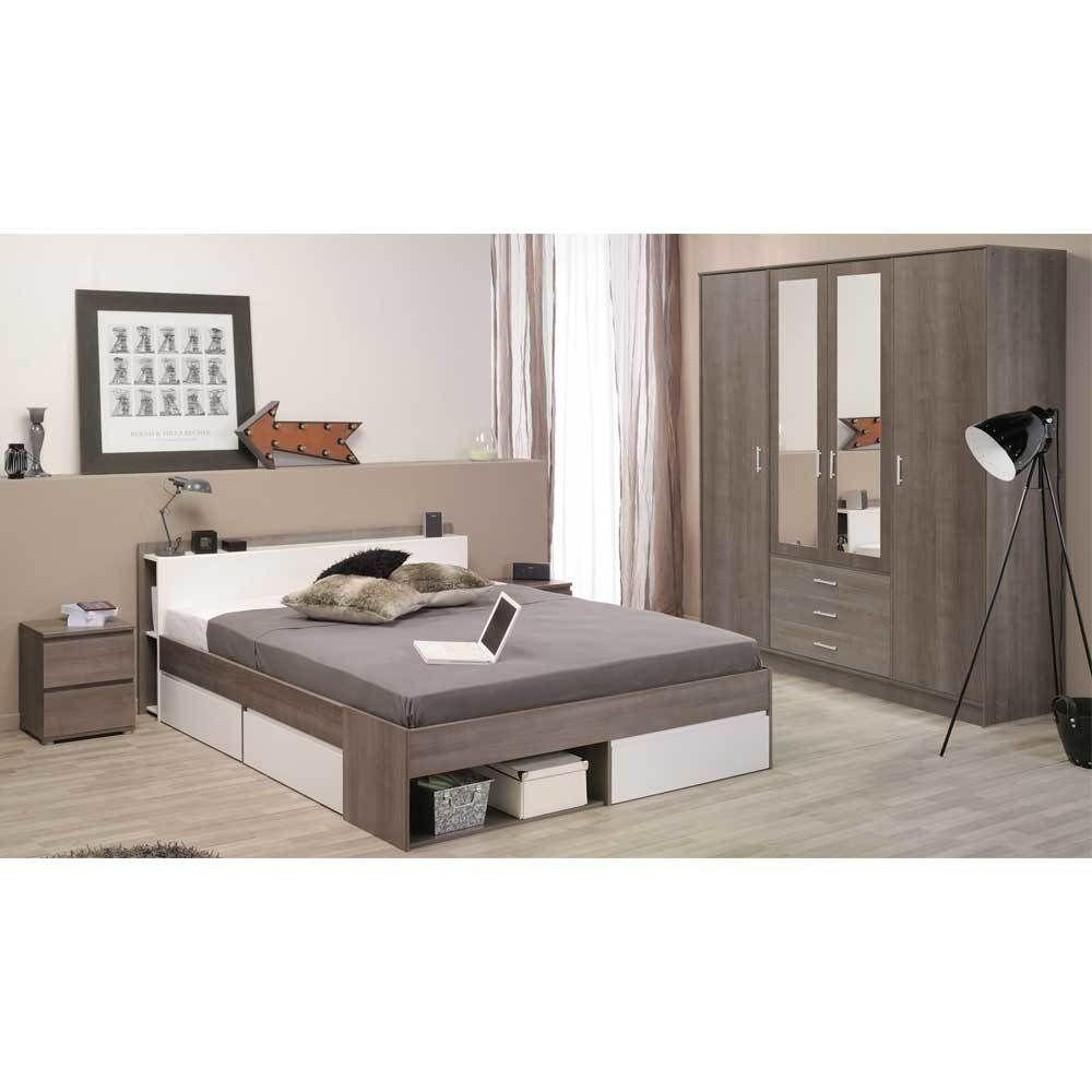 Schlafzimmer Komplettset in Weiß Eiche Silber Stauraumbett (4 ...