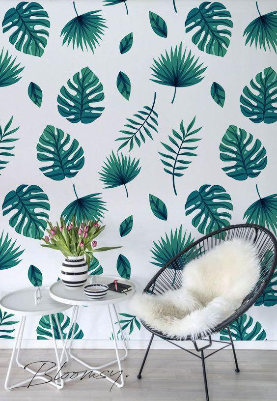 Removable Wallpaper Monstera Leaf Wallpaper Self Adhesive Etsy Removable Wallpaper Leaf Wallpaper Wallpaper Decor