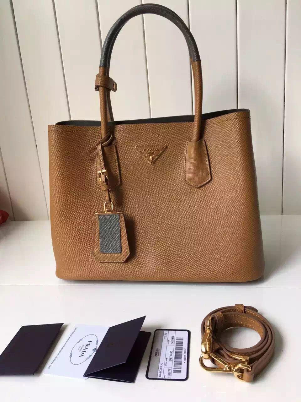 2676147bb5ecfa Prada Saffiano Leather Double Bag with Two-tone Handle Caramel/Marble 2016