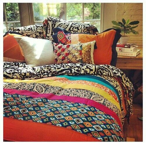 Photo of Layered pillows, vibrant colors~