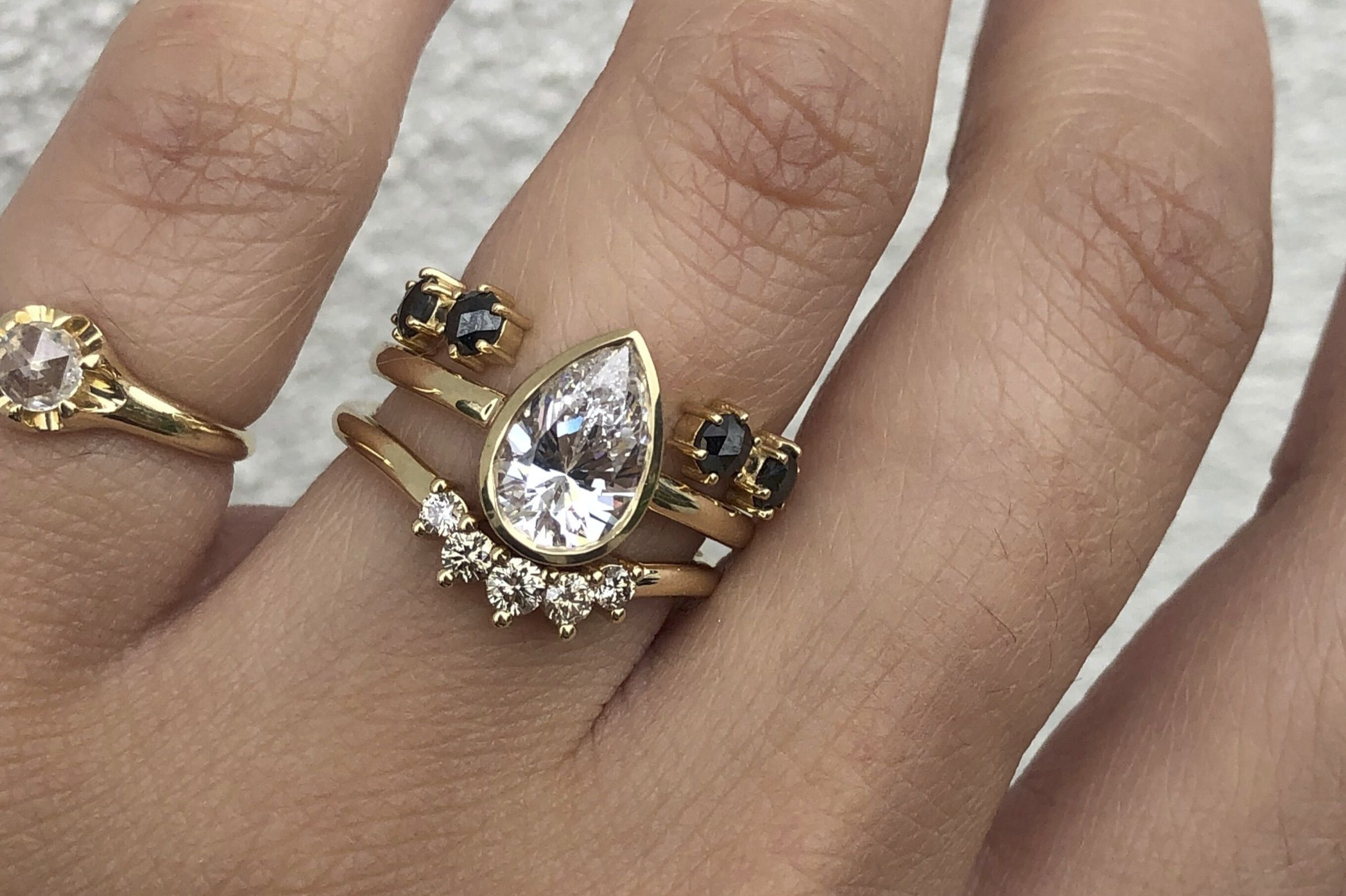 Stacking pear diamond wedding band wedding stack ring Salt and Pepper pear Diamond ring| Pear Stackable Ring engagement stacking ring