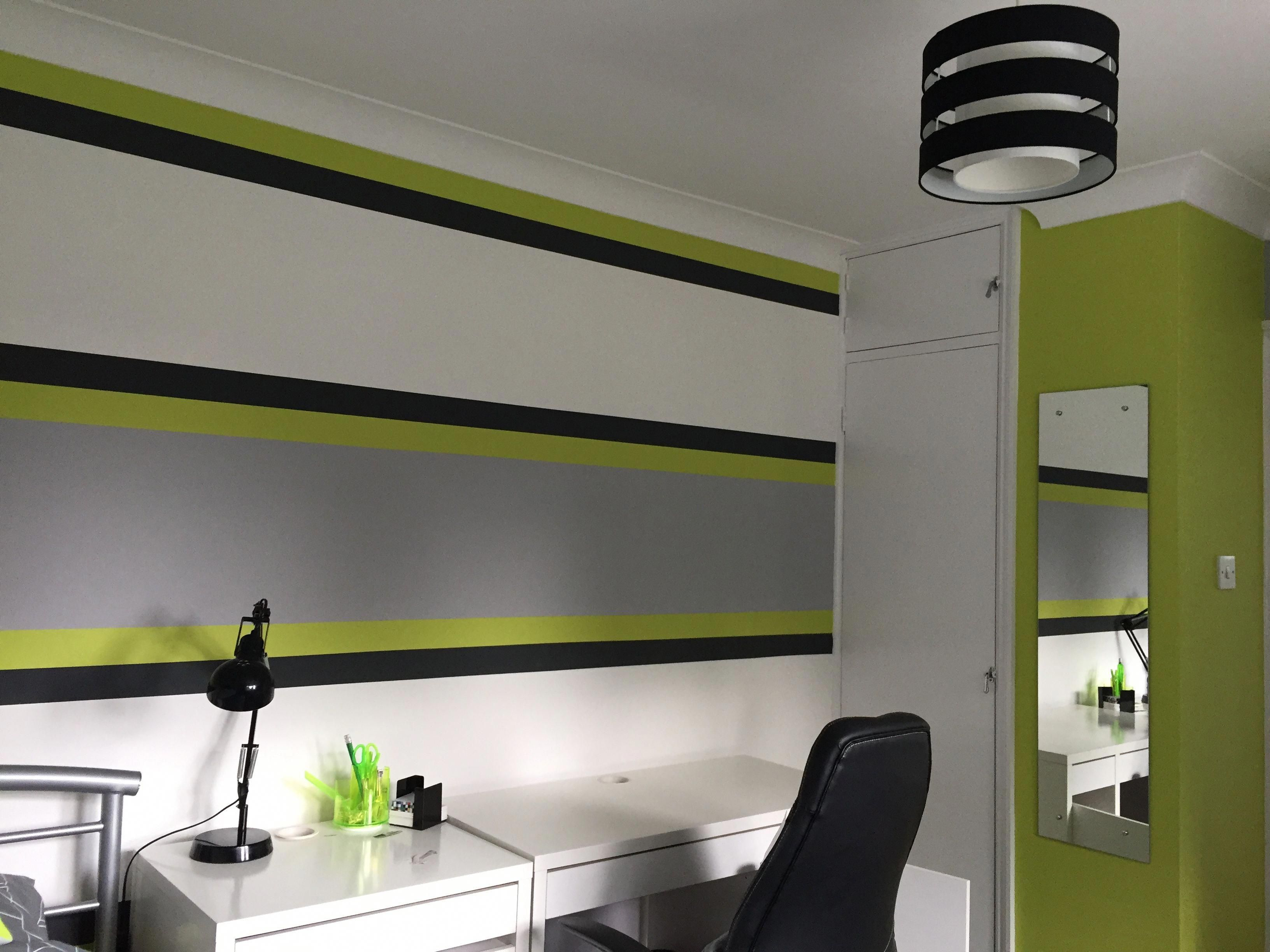 Lime Green Grey Boy S Bedroom Greenbedroom Lime Green Bedrooms Bedroom Green Green Boys Room