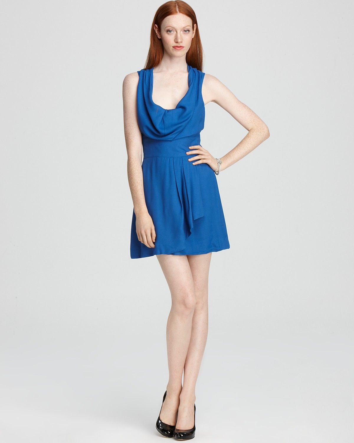 French Connection Dress - Ziona Crepe Cowl Neck   Bloomingdale's