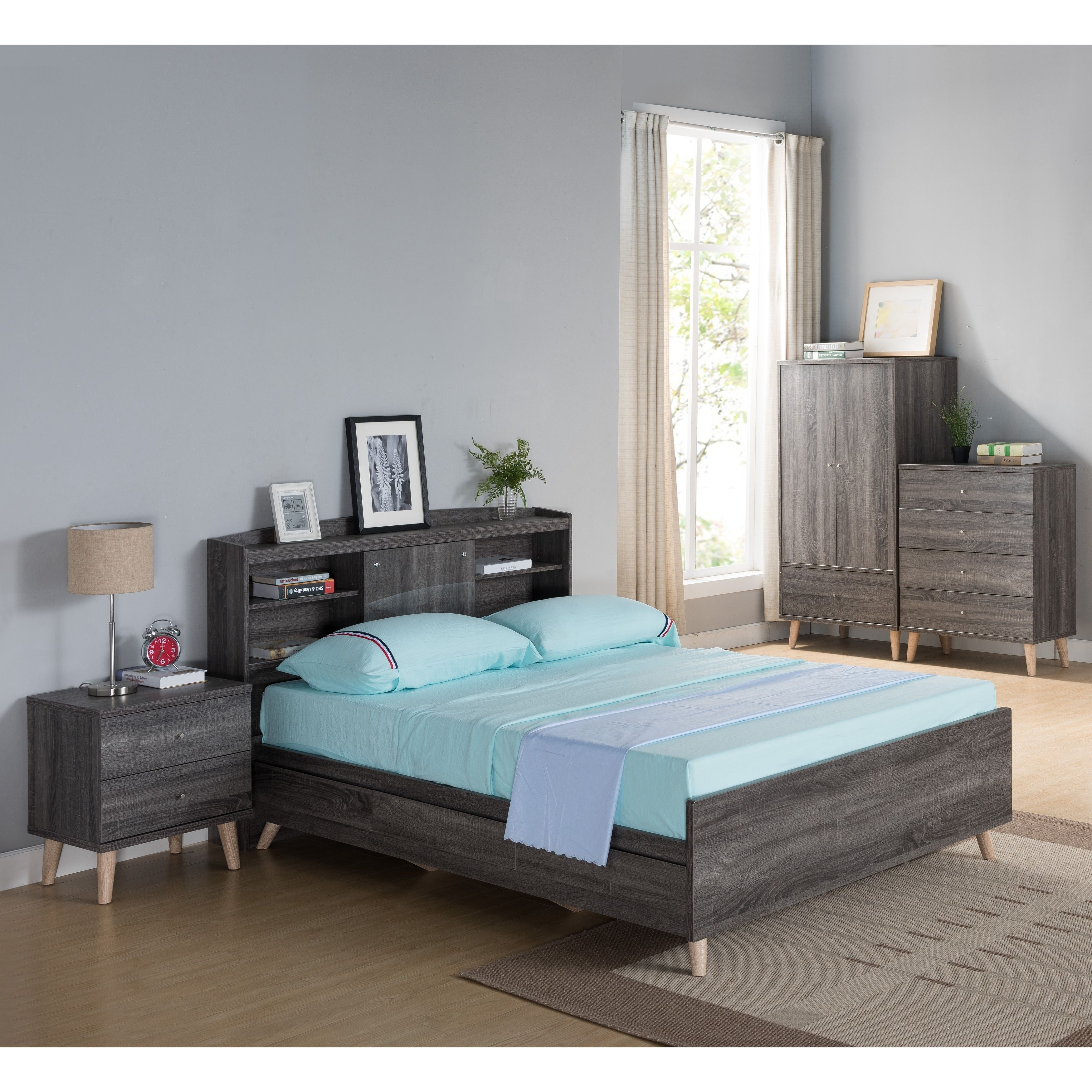 Riley Contemporary Distressed Grey Platform Storage Bed With Headboard Full Double
