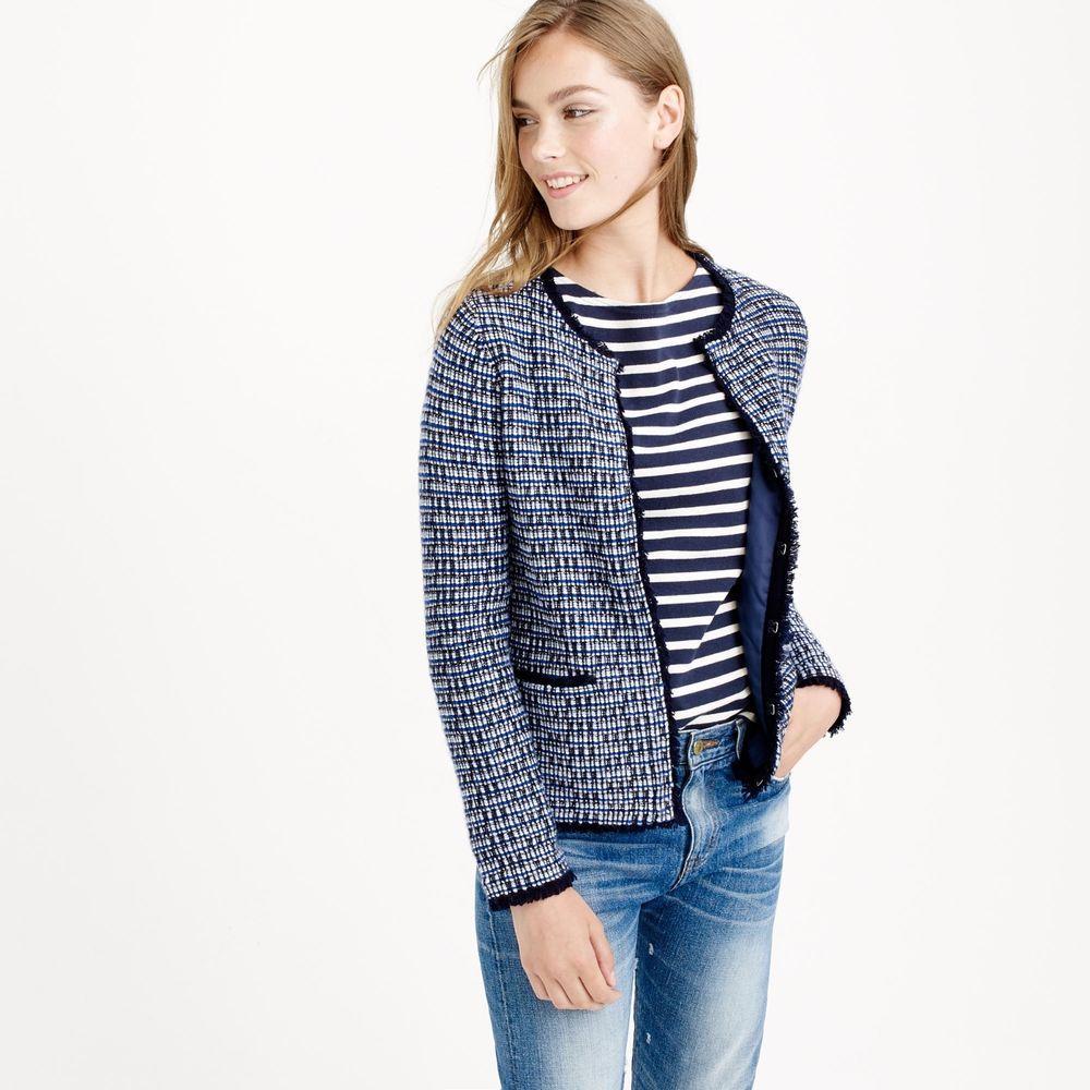 J.CREW Size XXS Navy Tweed Cardigan Sweater Jacket With Fringe ...