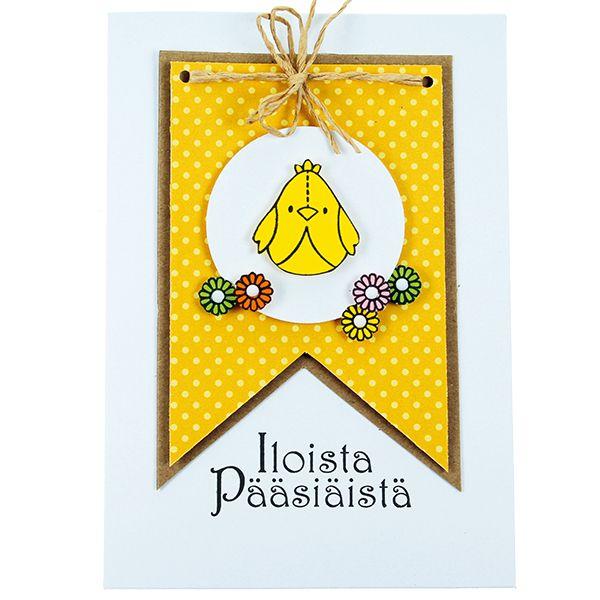 Tipu-leimasimen avulla koristeltu kortti.