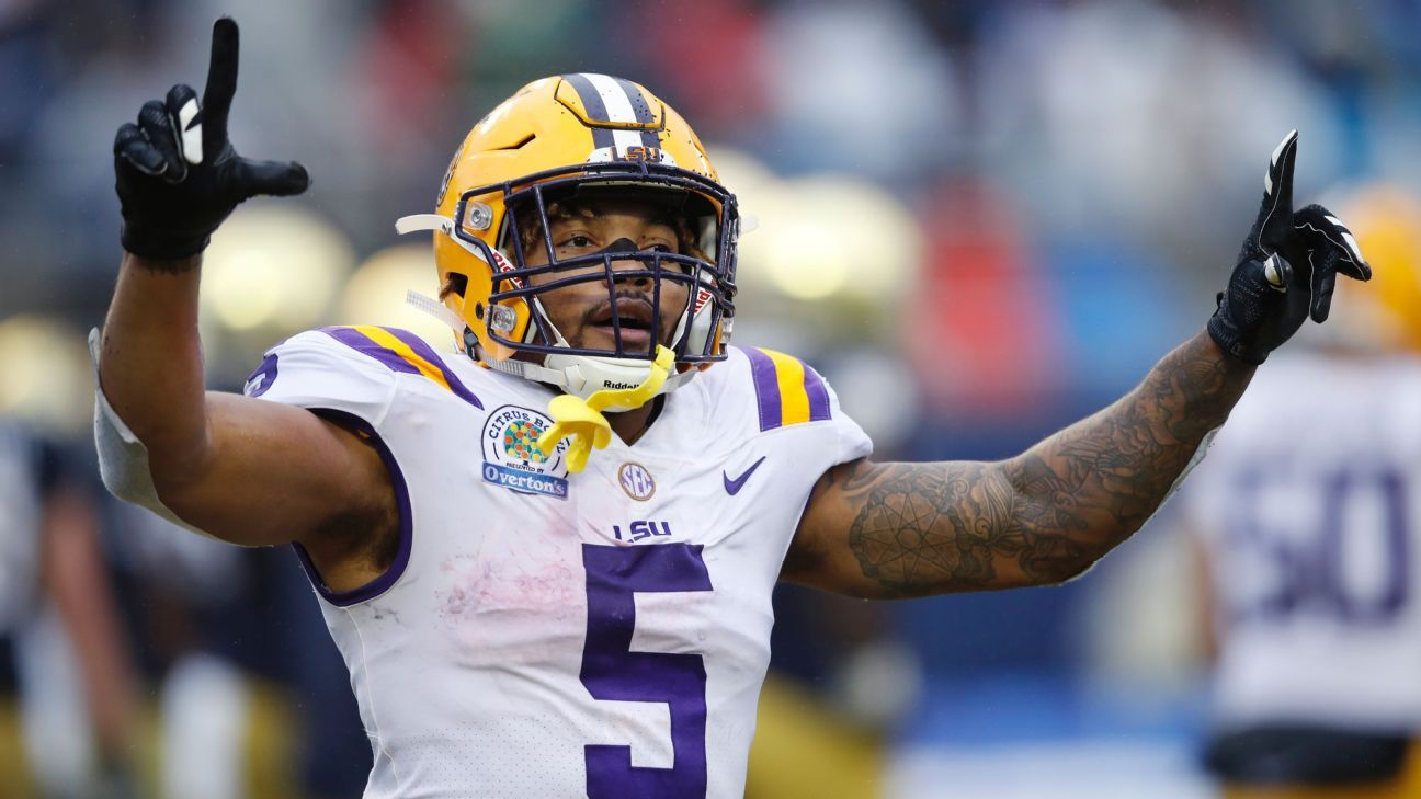 Guice After Sliding To Redskins At 59 Why Me Lsu Tigers Football Football Helmets Nfl