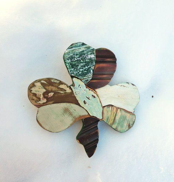 Mosaic Shamrock Reclaimed Wood Art Green Irish Decor by woodenaht