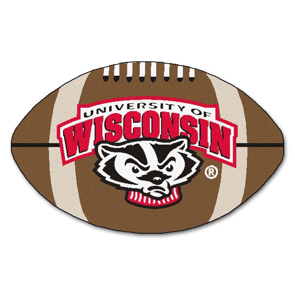 Wisconsin Bucky Badger Football Area Rug Wisconsin