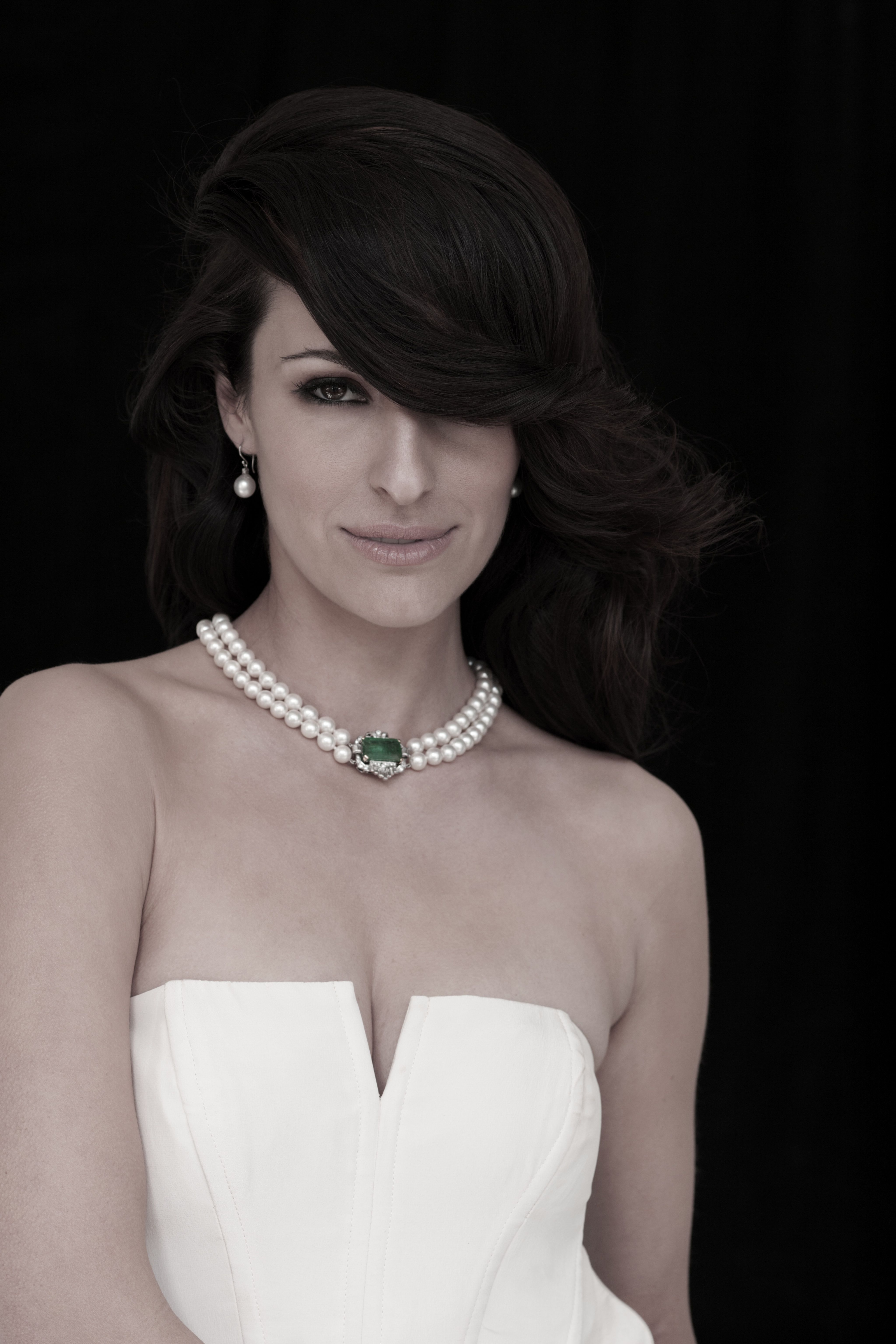 A Beautiful Double Strand Cultured Pearl Necklace, With An Art Deco Style  Emerald And Diamond