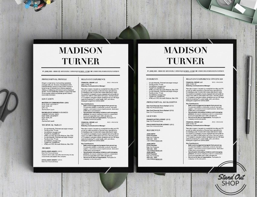 Stand Out Resume Templates Madison Turner Resume Template  Stand Out Shop  Madison Turner