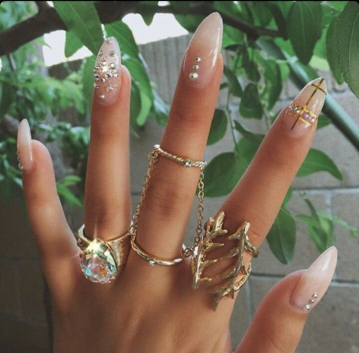 Nude Almond Shape Acrylic Nails w/ Rhinestones | Blinged Out Nails ...