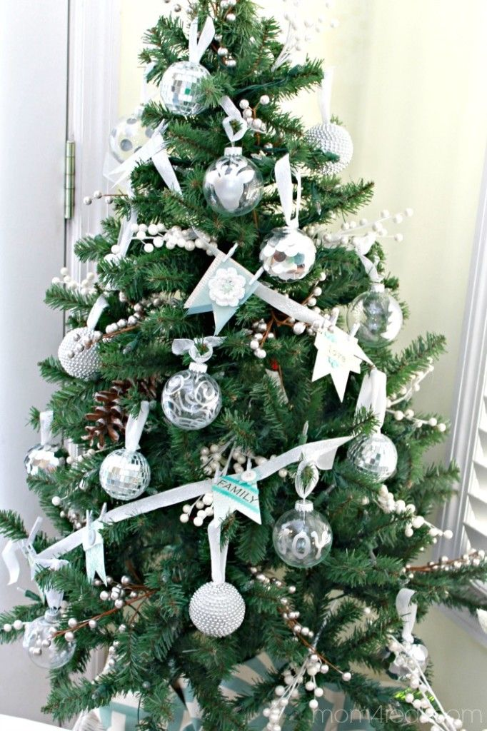 Simple Silver Leaf Glass Christmas Ornaments A Giveaway Mom 4 Real Silver Christmas Tree Decorations White Christmas Decor Silver Christmas Tree