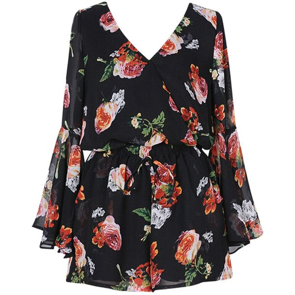 Choies Black Floral V-neck Flare Sleeve Romper Playsuit (€24) ❤ liked on Polyvore featuring jumpsuits, rompers, dresses, playsuits, black, floral print romper, floral rompers, playsuit romper, flower print romper and floral jumpsuit